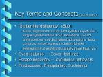 key terms and concepts continued
