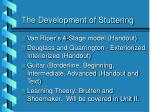 the development of stuttering