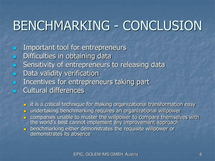 BENCHMARKING - CONCLUSION