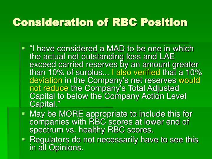 Consideration of RBC Position