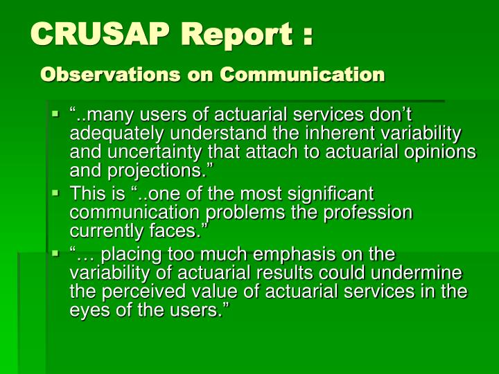 CRUSAP Report :