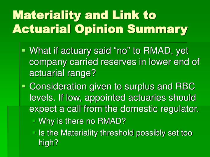 Materiality and Link to Actuarial Opinion Summary