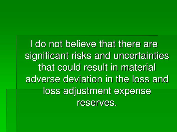 I do not believe that there are significant risks and uncertainties that could result in material adverse deviation in the loss and loss adjustment expense reserves.