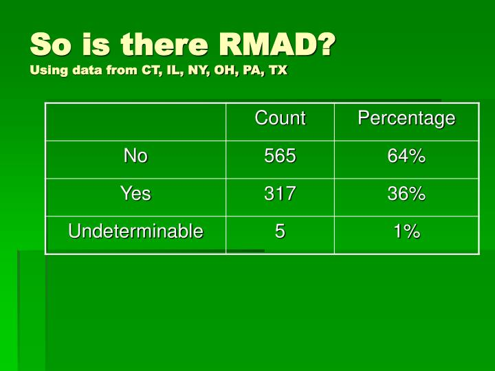So is there RMAD?