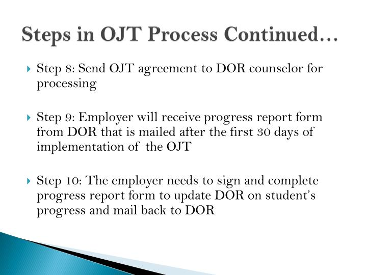 Steps in OJT Process Continued…