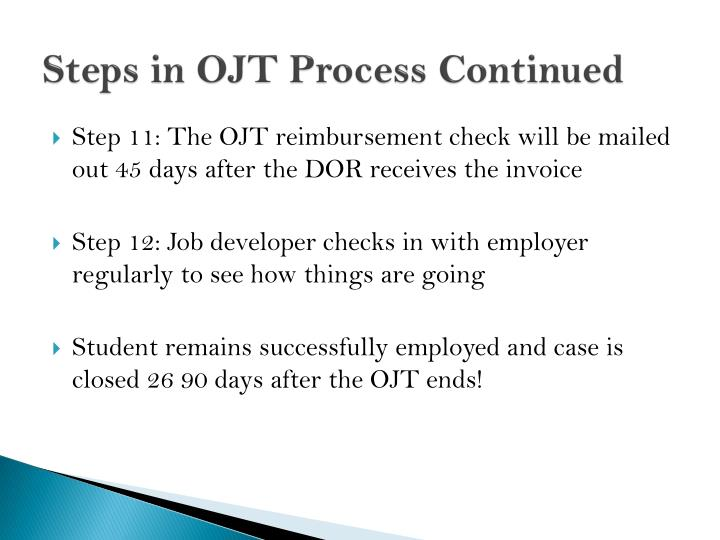 Steps in OJT Process Continued