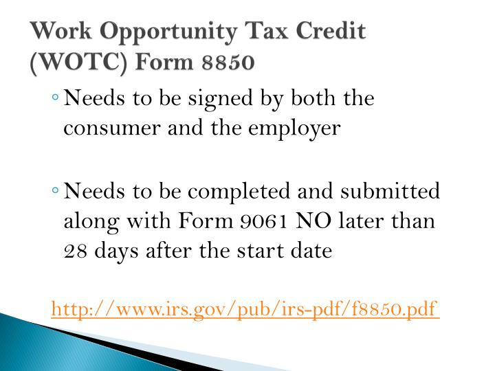 Work Opportunity Tax Credit  (WOTC) Form 8850