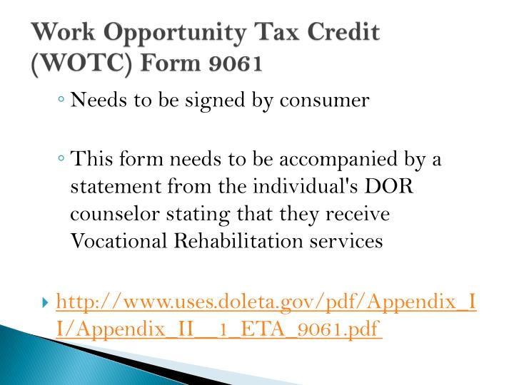 Work Opportunity Tax Credit  (WOTC) Form 9061