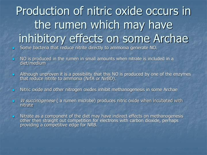 Production of nitric oxide occurs in the rumen which may have inhibitory effects on some Archae