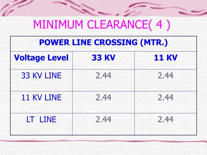 MINIMUM CLEARANCE( 4 )