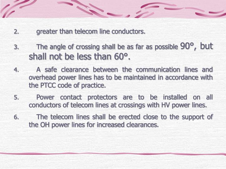 greater than telecom line conductors.
