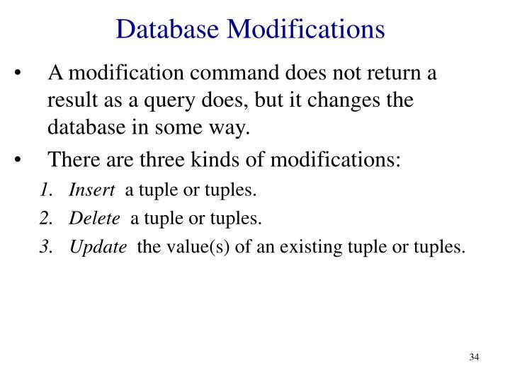 Database Modifications