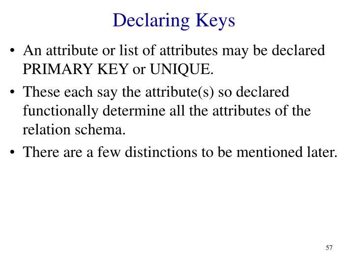 Declaring Keys