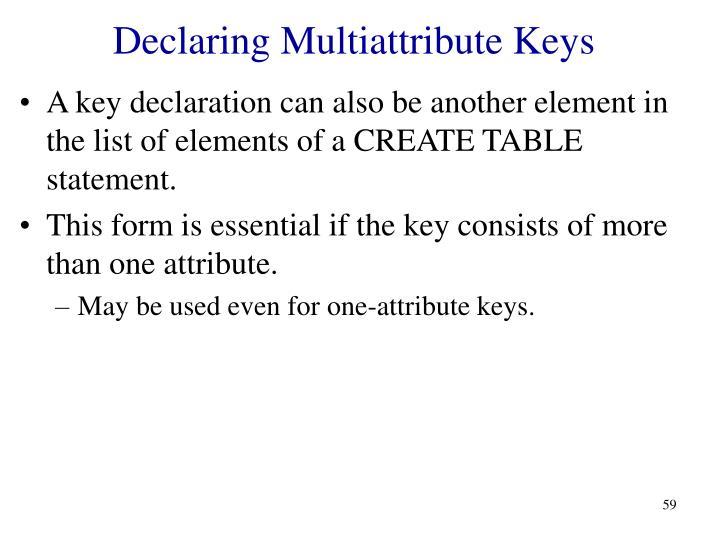 Declaring Multiattribute Keys