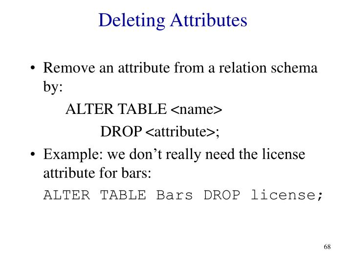 Deleting Attributes