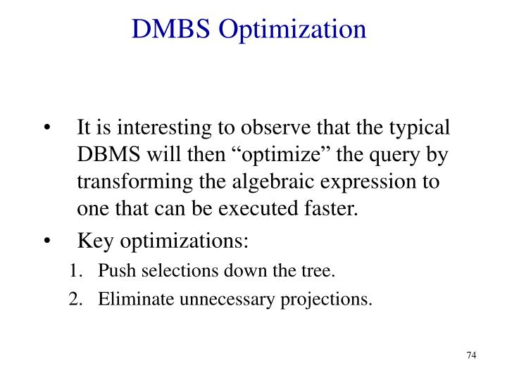 DMBS Optimization