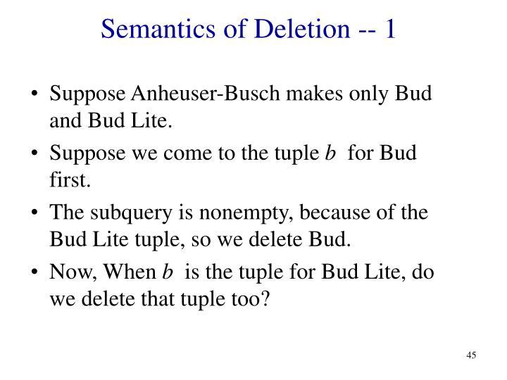 Semantics of Deletion -- 1