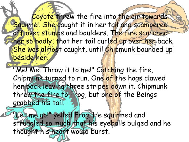 Coyote threw the fire into the air towards Squirrel. She caught it in her tail and scampered off over stumps and boulders. The fire scorched her so badly, that her tail curled up over her back. She was almost caught, until Chipmunk bounded up beside her.