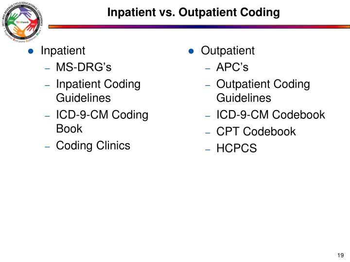 Inpatient vs. Outpatient Coding