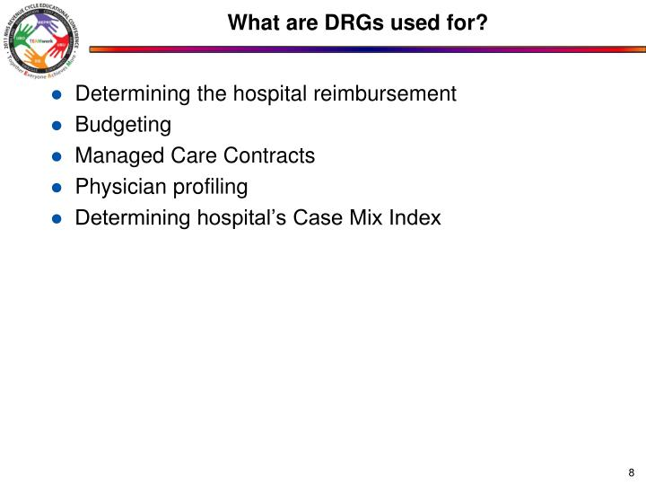 What are DRGs used for?