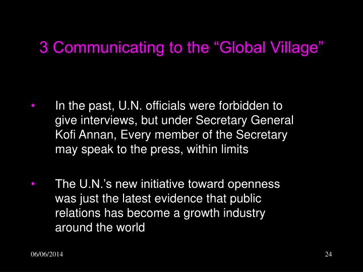 """3 Communicating to the """"Global Village"""""""