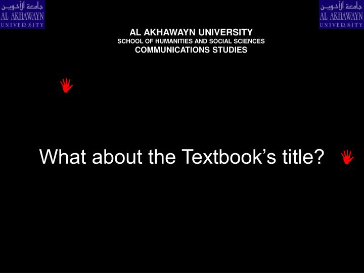What about the textbook s title
