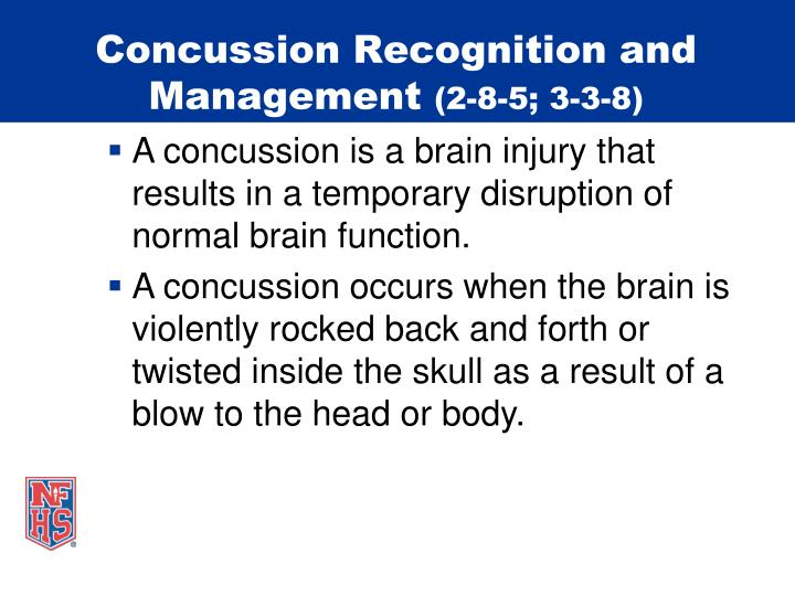 Concussion recognition and management 2 8 5 3 3 8