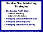 service firm marketing strategies