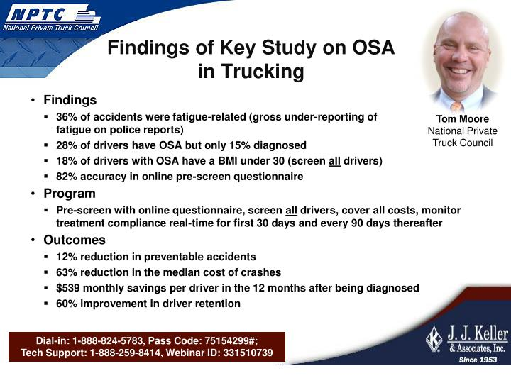 Findings of Key Study on OSA in Trucking