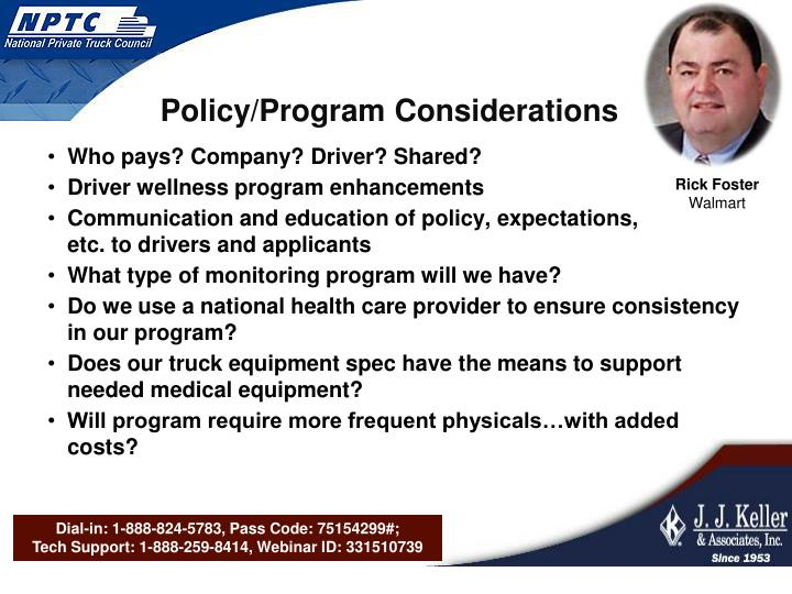 Policy/Program Considerations