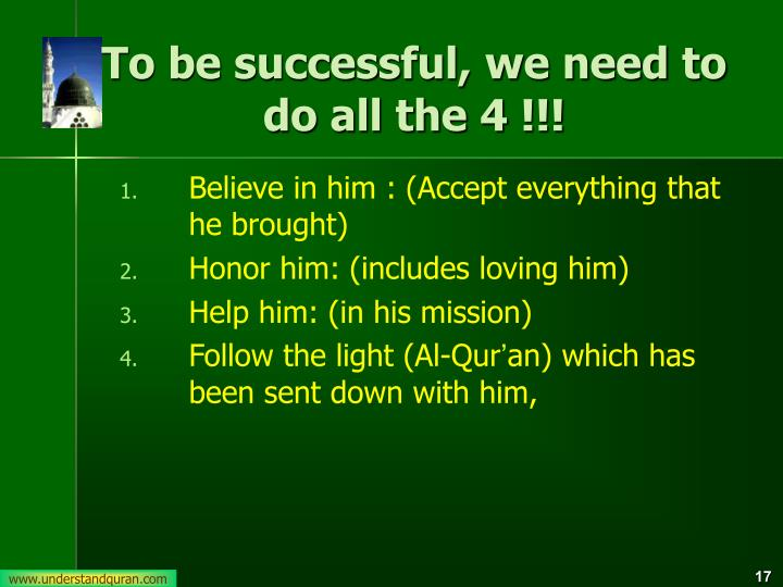 To be successful, we need to do all the 4 !!!