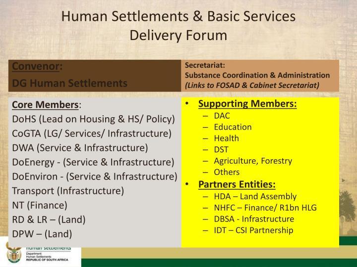 Human Settlements & Basic Services