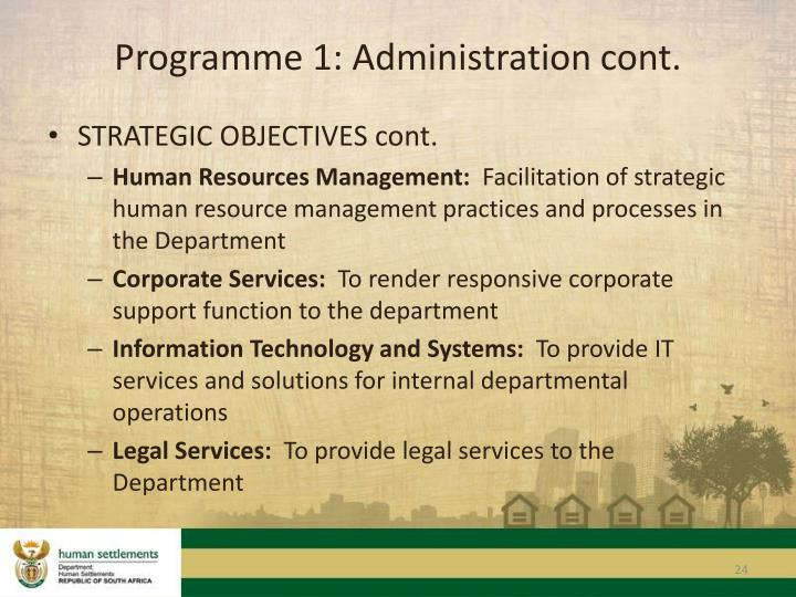 Programme 1: Administration cont.