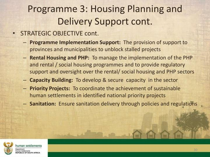 Programme 3: Housing Planning and Delivery Support cont.