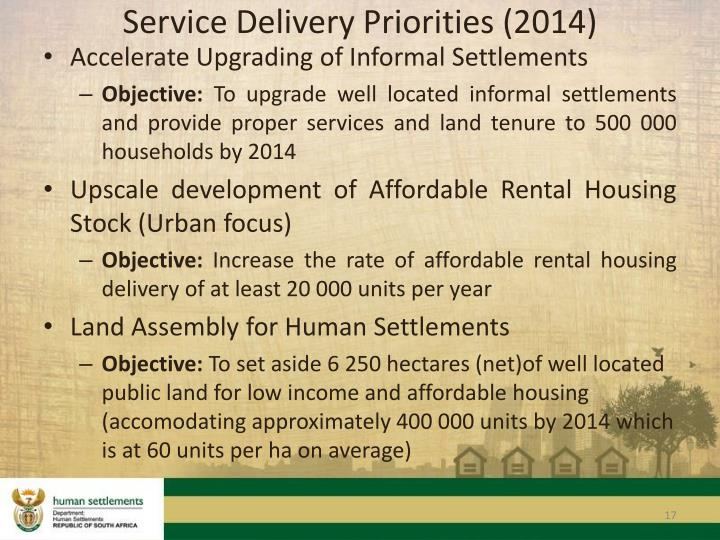 Service Delivery Priorities (2014)