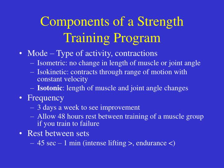 Components of a Strength Training Program