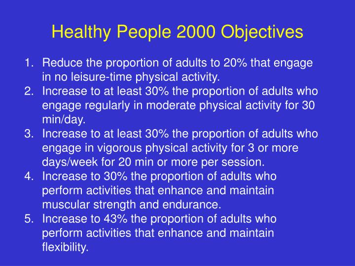 Healthy People 2000 Objectives