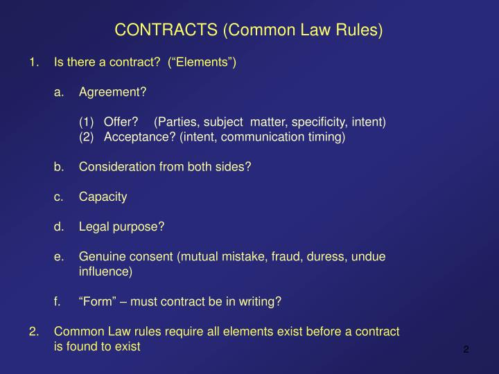 CONTRACTS (Common Law Rules)