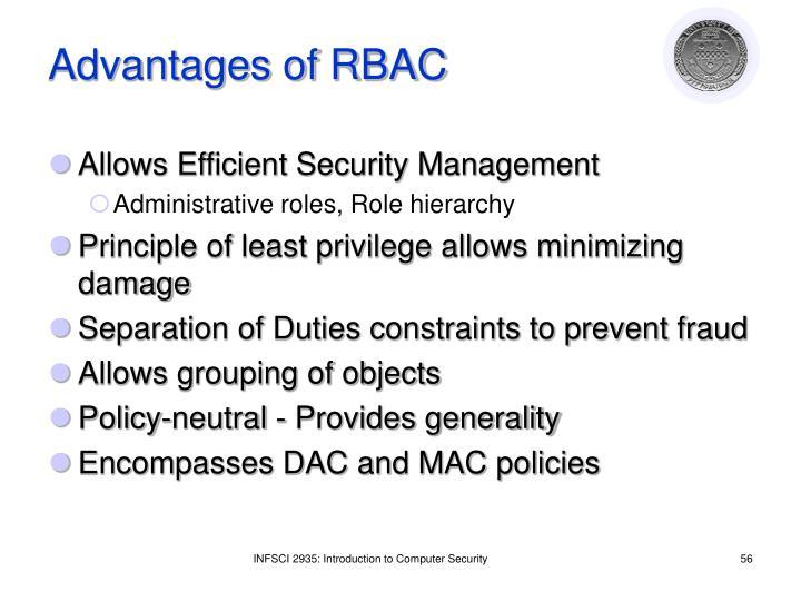 Advantages of RBAC