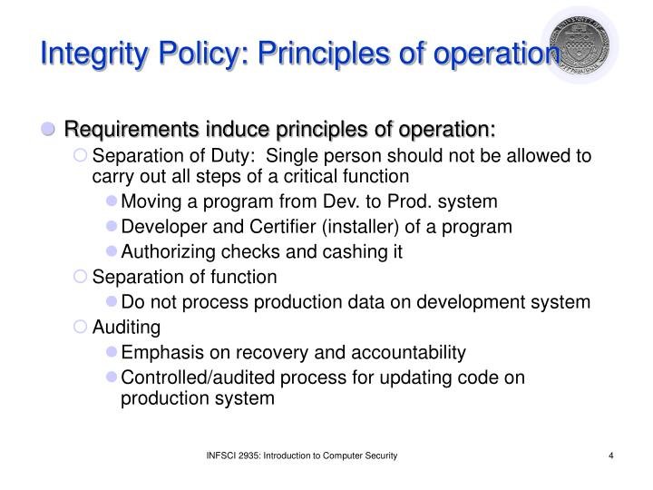 Integrity Policy: Principles of operation