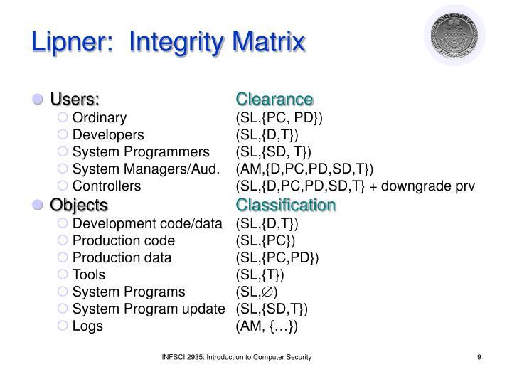 Lipner:  Integrity Matrix