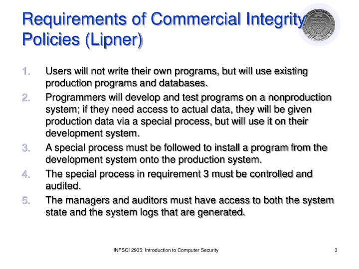 Requirements of commercial integrity policies lipner