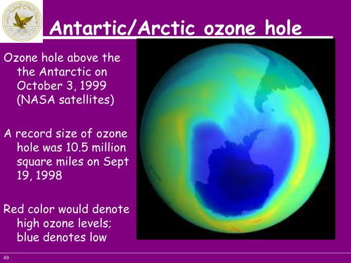 Ozone hole above the the Antarctic on October 3, 1999 (NASA satellites)