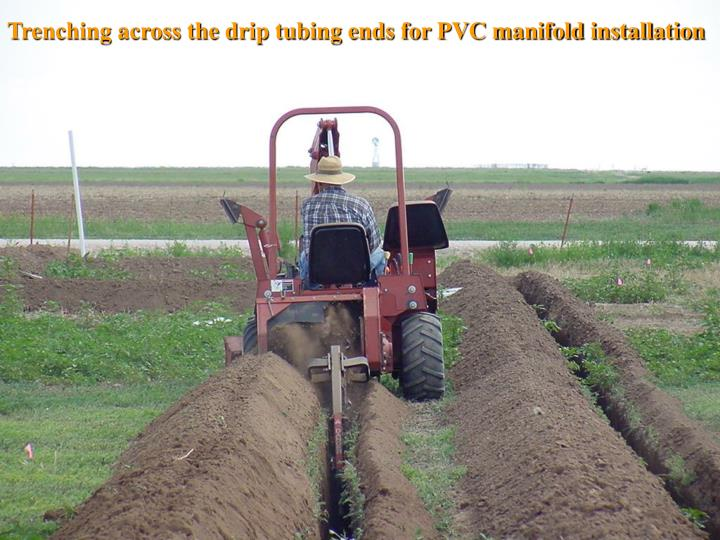 Trenching across the drip tubing ends for PVC manifold installation