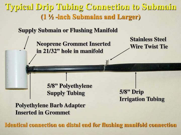 Typical Drip Tubing Connection to Submain
