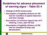 guidelines for advance placement of warning signs table 2c 4