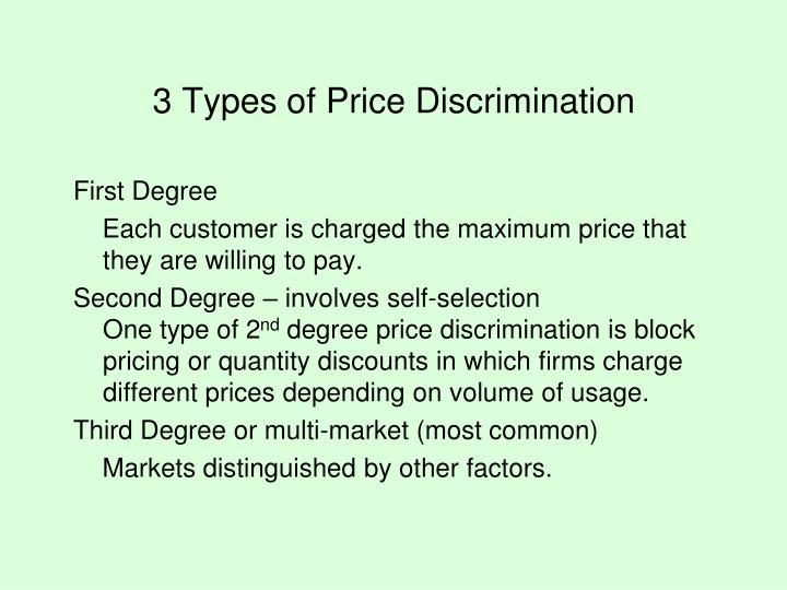 3 Types of Price Discrimination