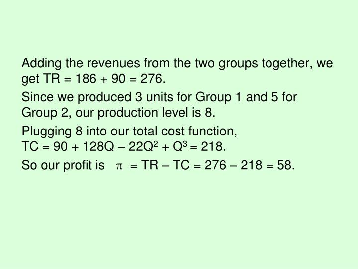 Adding the revenues from the two groups together, we get TR = 186 + 90 = 276.