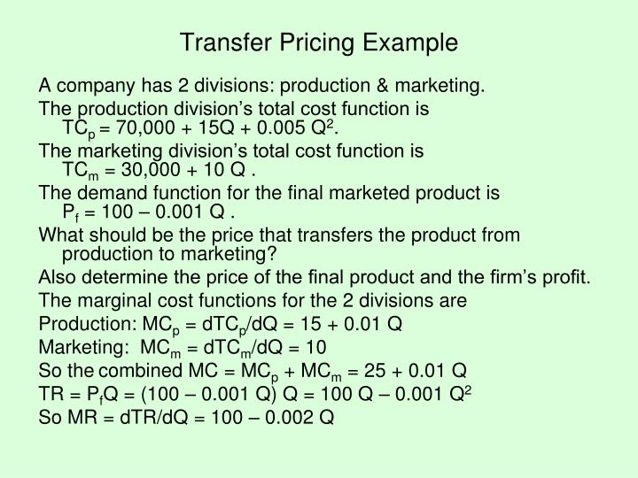 Transfer Pricing Example