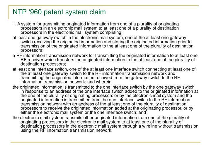 NTP '960 patent system claim